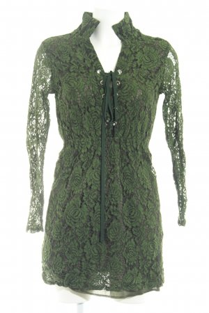 Boohoo Langarmkleid grün abstraktes Muster Casual-Look