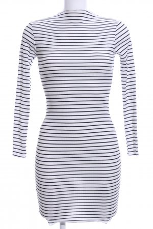 Boohoo Longsleeve Dress white-black striped pattern casual look