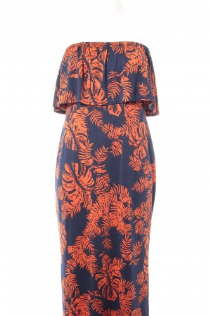 Boohoo Maxikleid dunkelblau-orange florales Muster Beach-Look