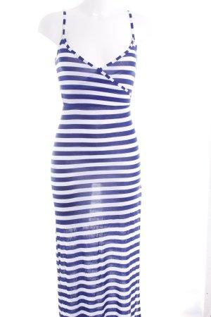Boohoo Maxikleid weiß-blau Streifenmuster Beach-Look