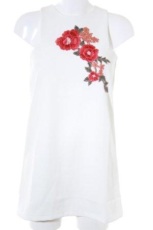 Boohoo Minikleid wollweiß florales Muster 60ies-Stil