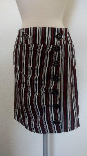 Boohoo Rock Bleistiftrock schwarz weiß rot gestreift + Knöpfe Gr.M UK 12 38 40