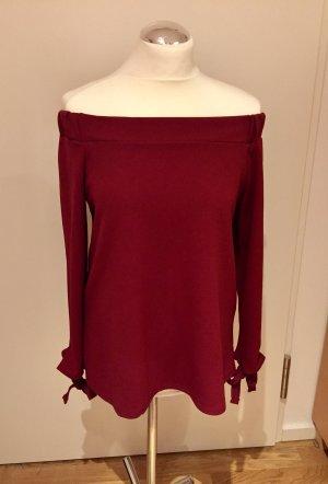 Boohoo: rotes Carmenshirt Gr. 10 / 36