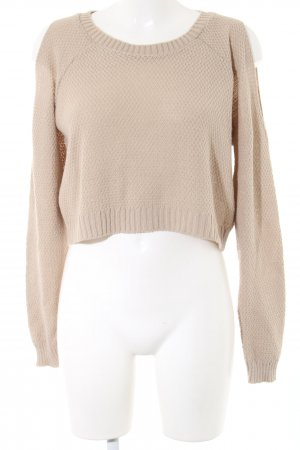 Boohoo Rundhalspullover wollweiß-creme Webmuster Casual-Look