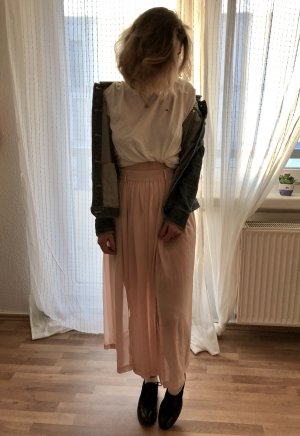 Falda de talle alto rosa