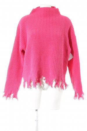 Boohoo Strickpullover neonpink Street-Fashion-Look