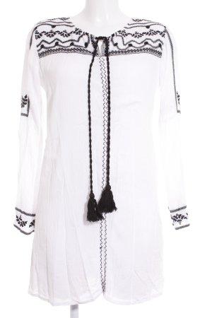 Boohoo Tunikabluse weiß-schwarz Ringelmuster Casual-Look