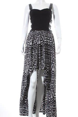 Boohoo Vokuhila-Kleid schwarz-weiß grafisches Muster Party-Look