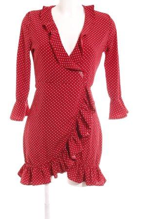 Boohoo Vestido cruzado blanco-rojo oscuro tejido mezclado