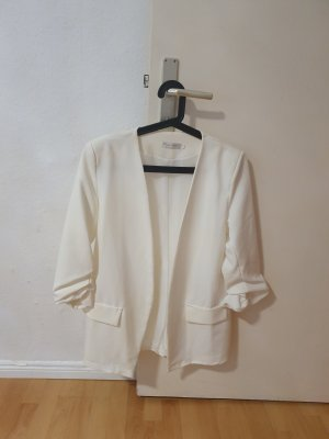 Boohoo Long Blazer natural white