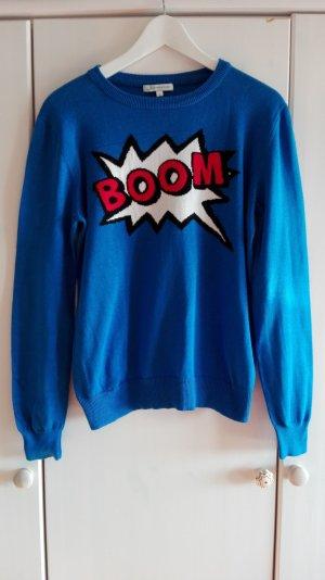 BOOM Strickpulli Statement Knit Feinstrick Comic Print Pulli Pullover