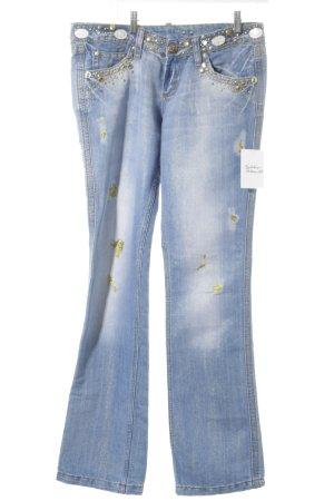 Boot Cut Jeans goldfarben-graublau extravaganter Stil