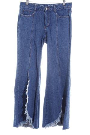 Jeans bootcut bleu acier-blanc cassé style extravagant