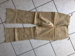 QS by s.Oliver Pantalon en cuir beige clair-crème cuir