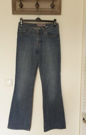 Bootcut Jeans mit Strass Knopf
