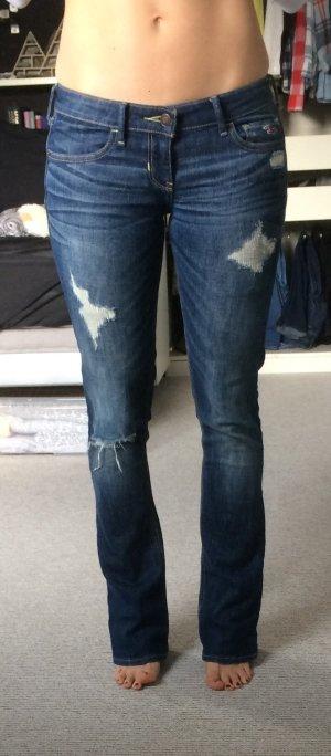 Bootcut Jeans von Hollister 26/33, Mittelblau-destroyed