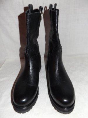 Booties aus schwarzem Leder in 41, PANELLA, made in Italy. NEU mit Kasten.