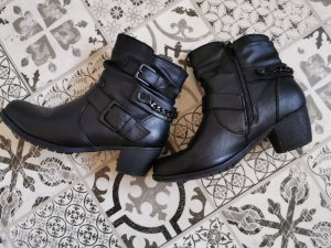 100% Fashion Ankle Boots black imitation leather