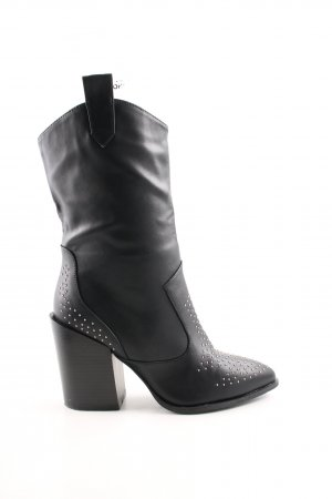 Booties black-silver-colored street-fashion look