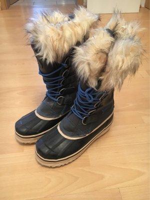 Fur Boots beige-dark blue