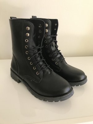 Combat Boots black imitation leather
