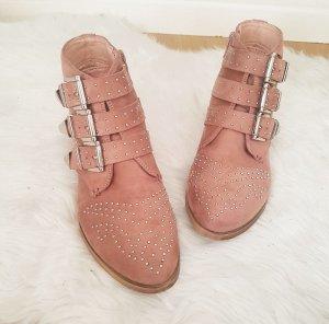 Boots Biker rosa Stiefel Nieten 38 Schnallen silber blogger hipster