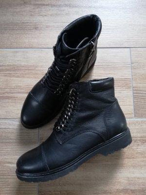 5th Avenue Zipper Booties black-silver-colored