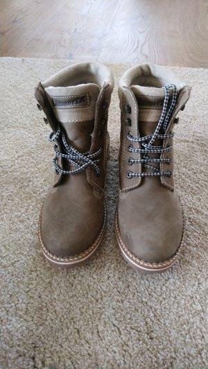 Bottes à lacets gris brun