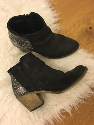 Boots Glitzer Samt Blockabsatz