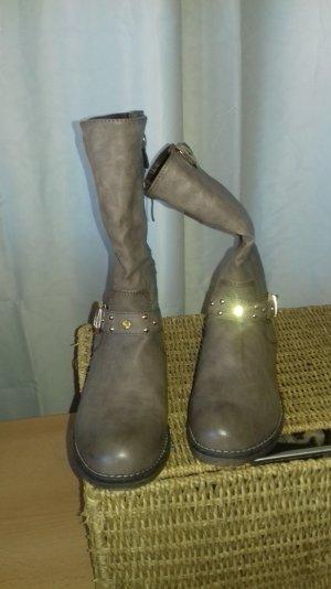 Boots in grau mit Gold