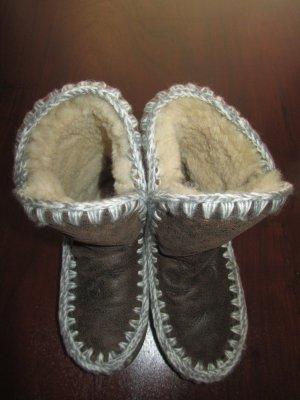 Boots Leder Schaffell  Winter Hippie Boho Ethno braun beige