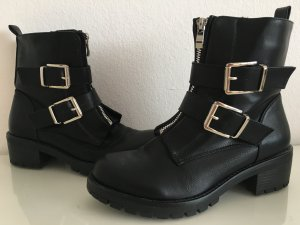 Ankle Boots black-silver-colored imitation leather