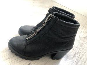 Boots mit Reisverschluss Schwarz Stiefeletten Topshop Absatz Stiefel