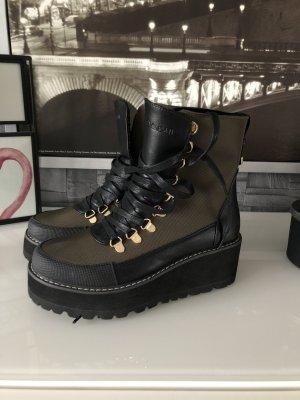 Korte laarzen zwart-khaki
