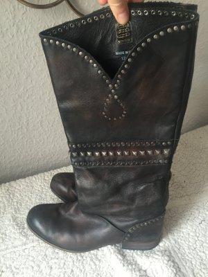 Boots nieten designer Asos leder Gr 40 schwarz used look