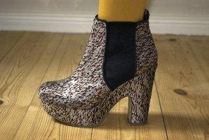 Boots, Plateau Textil Schwarz Dunkel Rot Silber, Gr. 4