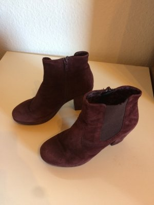 Boots Plateau Wildleder Bordeaux