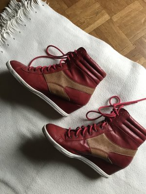 Ankle Boots red imitation leather