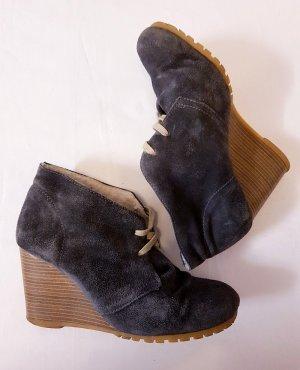 Boots Schnür-Stiefeletten echtes Wildleder blau anthrazit Gr. 38