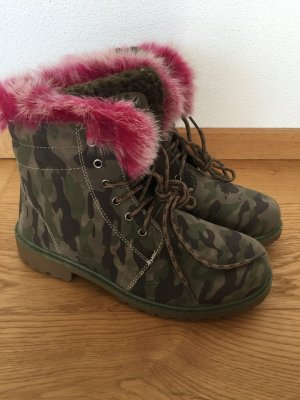 Boots Schnürboots Camouflage military Fell pink Gr 39 neu
