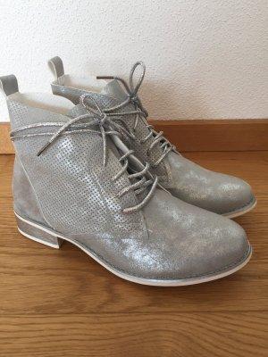 Boots Schnürboots Silber Glitzer neu Gr 38