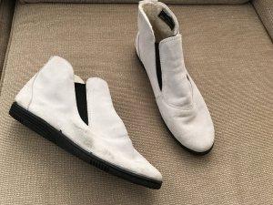 Stivaletto grigio chiaro-bianco sporco Scamosciato