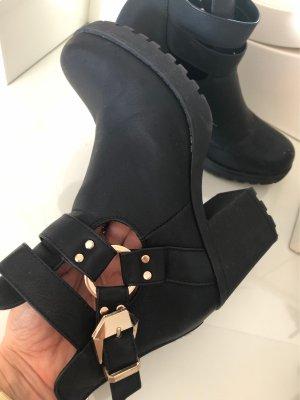 Boots schwarz, goldene schnalle