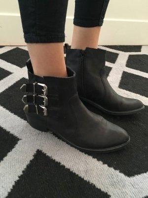 Boots Silber Schuhe Absatz Stiefel aldo Kunstleder 38 chic Fashion Biker schwarz