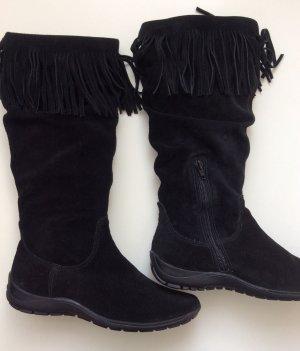 Boots Stiefel Fransen VIA UNO Wild Leder Suede Gr 37 schwarz Neu
