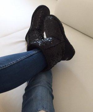 Boots Stiefel Glitzer Pailletten schwarz Winter