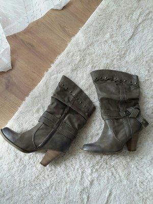 Boots / Stiefel in grau mit silbernen Details