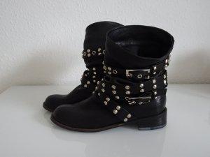 Boots/Stiefel mit Nieten, Echtleder