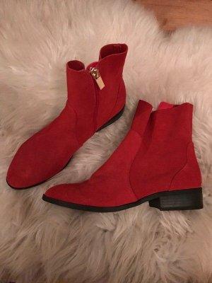 Topshop Low boot rouge daim