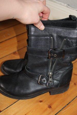 Boots Stiefel schwarz schnalle Gr 39 Leder Biker